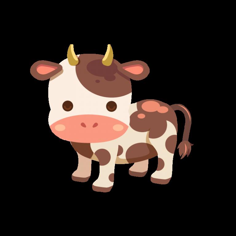 牧場にいる牛(ウシ)のイラスト素材