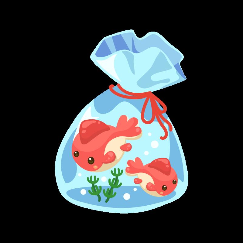 夏祭りの金魚すくいでとった金魚袋のイラスト素材 商用可能な無料 フリー のイラスト素材ならストックマテリアル