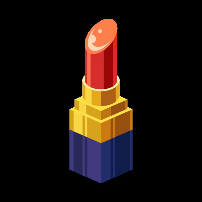 メイクに使う口紅(リップグロス)のイラスト素材