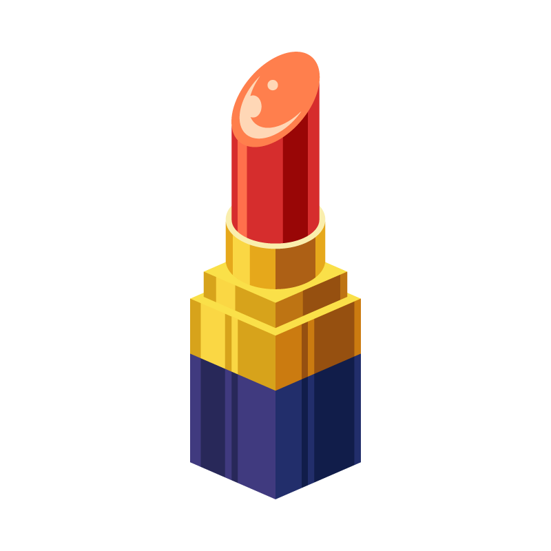 メイクに使う口紅リップグロスのイラスト素材 商用可能な無料