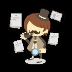 推理小説でお馴染みのミステリー探偵(虫眼鏡/髭/タバコ/帽子)のイラスト素材