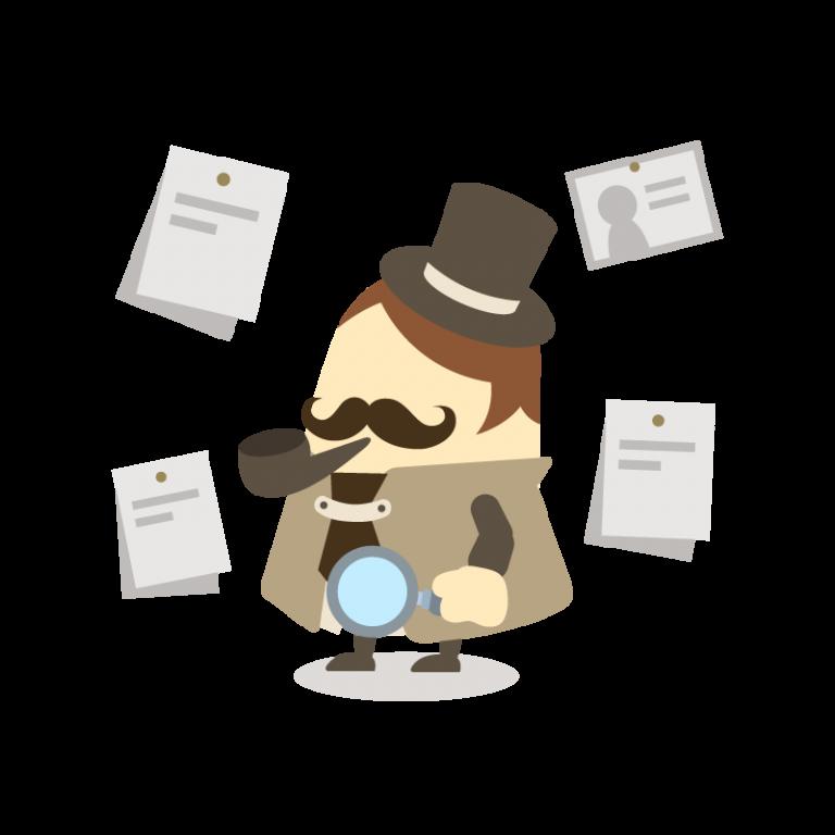 名探偵のイラスト素材(帽子、タバコ、虫メガネ付き)