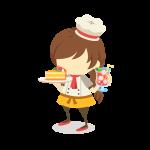 レストランで働く女性パティシエ(コック/料理人)のイラスト素材