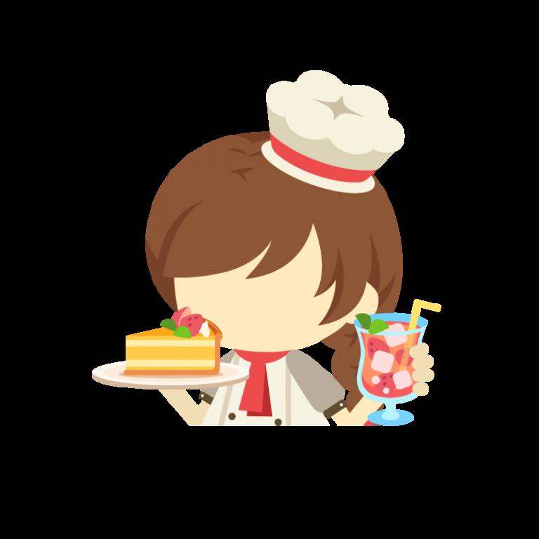 上半身女性パティシエ(コック/料理人)のイラスト素材