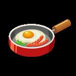 フライパンで料理した目玉焼き・ソーセージ(ウインナー)・ピーマンのイラスト素材