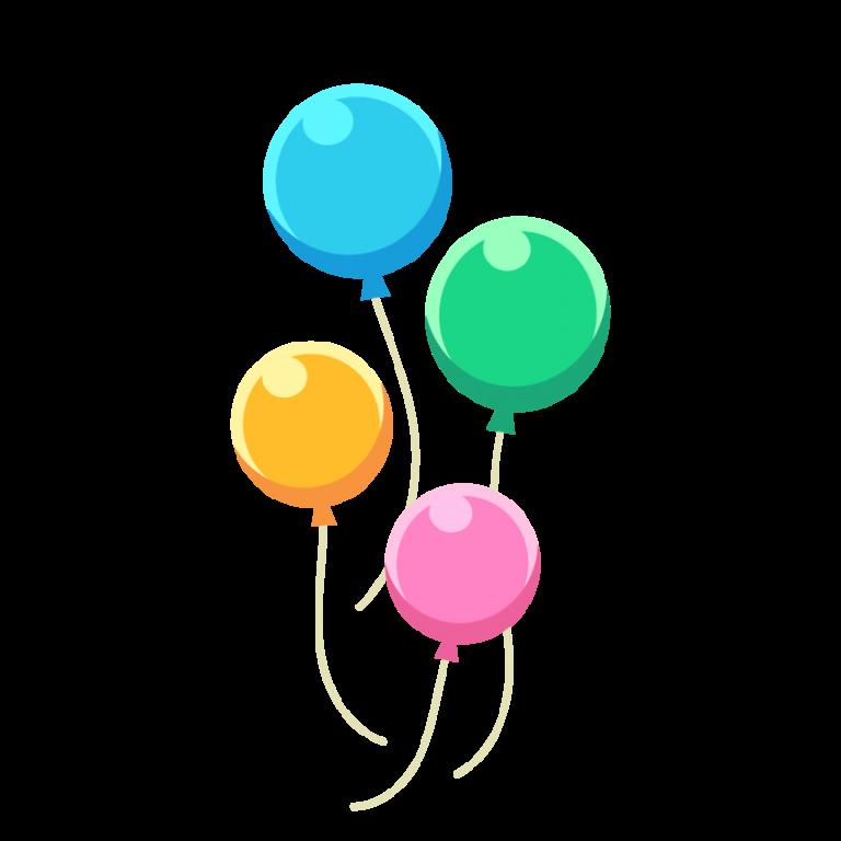 カラフルな風船(ふうせん/バルーン)のイラスト素材