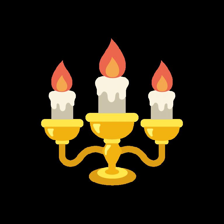 金のハロウィンキャンドル(ロウソク/ろうそく)のイラスト素材