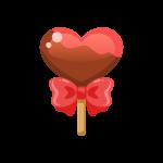 バレンタイン用棒付きチョコレート(チョコポップ/ロリポップチョコレート)のイラスト素材