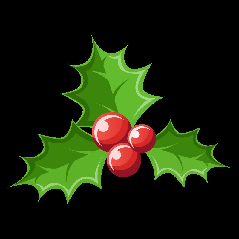 クリスマスオーナメント柊(ヒイラギ)のイラスト素材