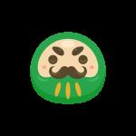 福だるま(緑色)のイラスト素材