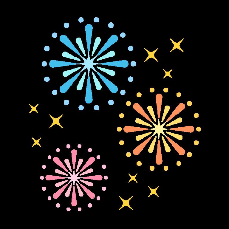 夏祭りを彩る打ち上げ花火のイラスト素材
