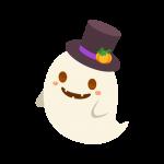 帽子を被ったハロウィンおばけ(幽霊/ゴースト)のイラスト素材