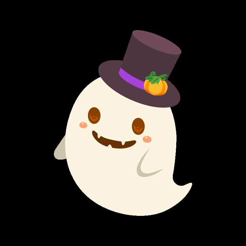 帽子を被ったハロウィンおばけ 幽霊 ゴースト のイラスト素材 商用可能な無料 フリー のイラスト素材ならストックマテリアル