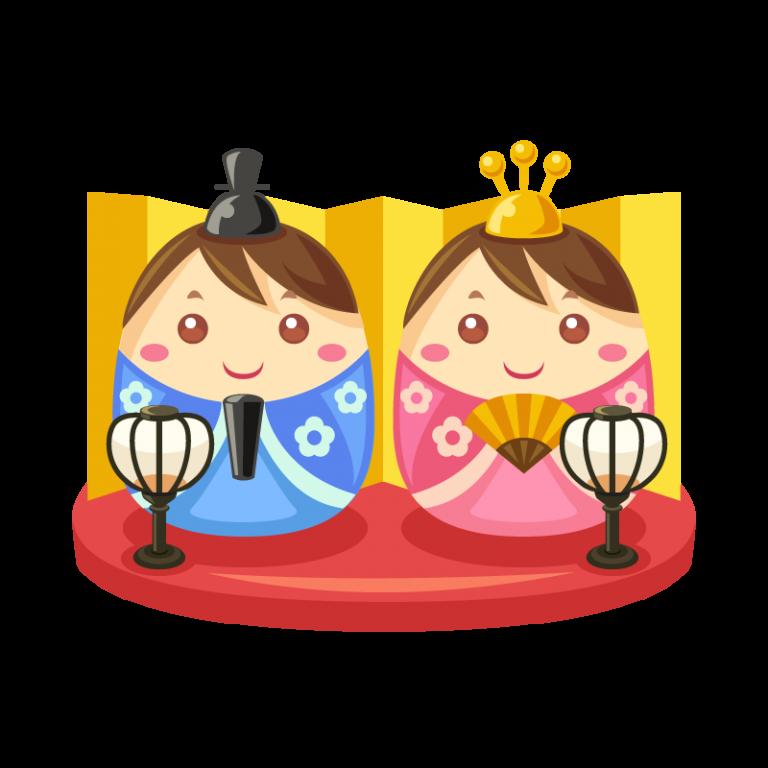 ひな祭りに飾る雛(ひな)人形のイラスト素材