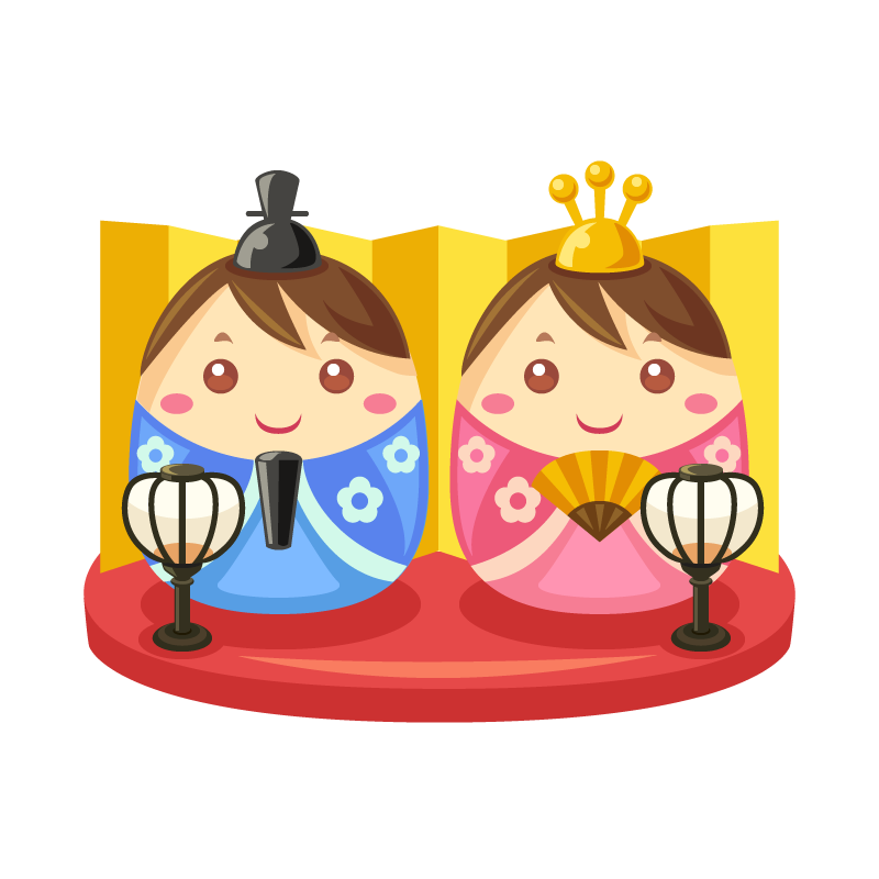 ひな祭りに飾る雛ひな人形のイラスト素材 商用可能な無料フリー