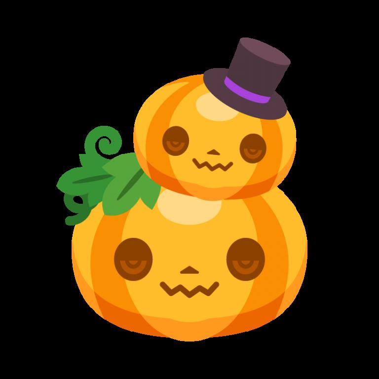 親子のハロウィンカボチャ/かぼちゃ(パンプキン)のイラスト素材