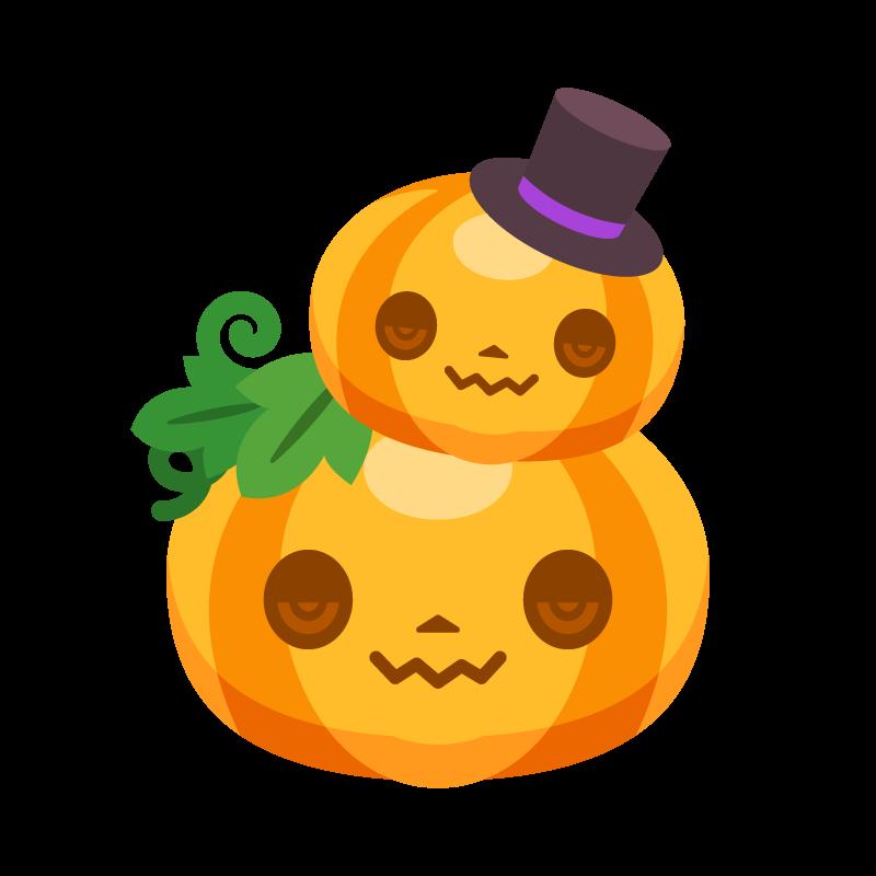 親子のハロウィンカボチャかぼちゃパンプキンのイラスト