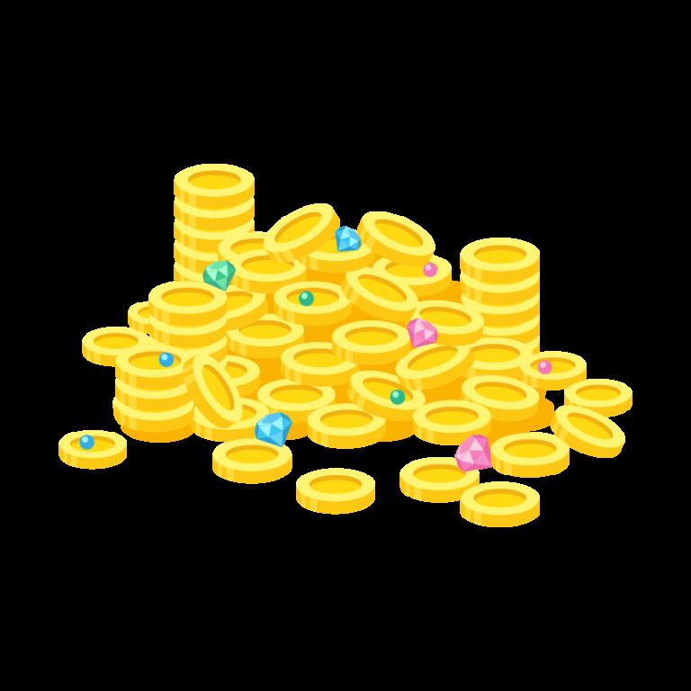 お金(コイン)や宝石(ダイヤモンド)のお宝が山になったイラスト素材