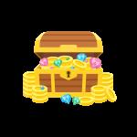 金貨(コイン/メダル)や宝石(ダイヤ)などの財宝が入った宝箱のイラスト素材