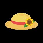 麦わら帽子(ヒマワリの花付き)のイラスト素材