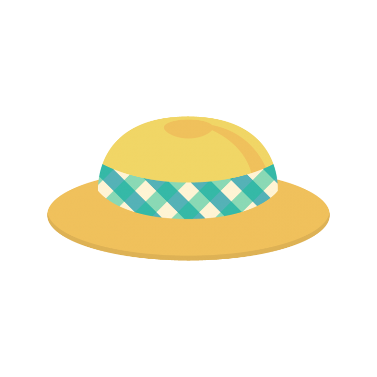 麦わら帽子(チェック柄のリボン付き)のイラスト素材