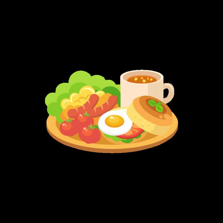 モーニングプレート(サラダ・スクランブルエッグ・ウインナー・トマト・卵・パンの朝食セット)のイラスト素材