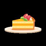 苺(いちご/イチゴ)付きタルトケーキのイラスト素材