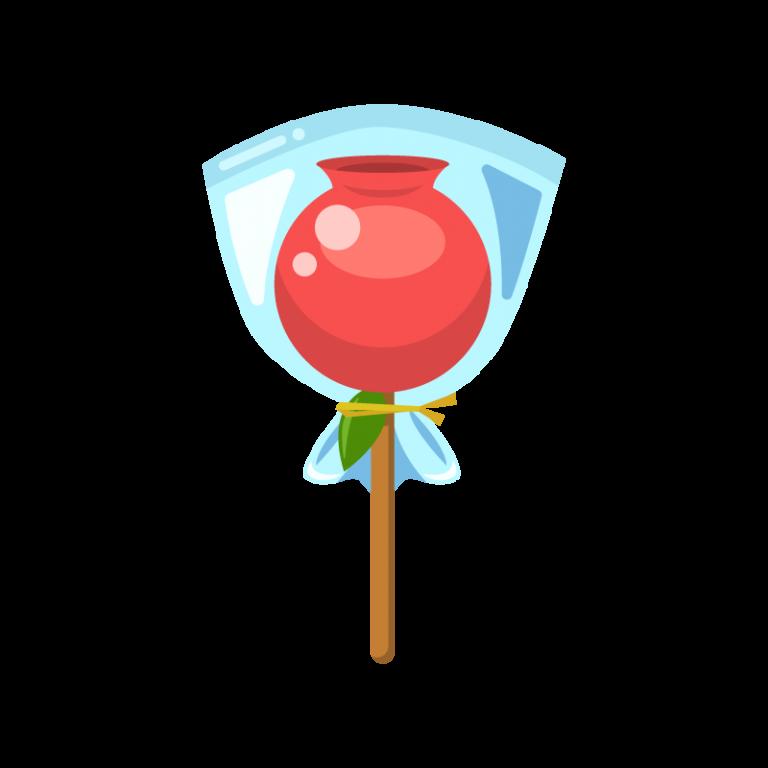 袋入りりんご飴(林檎飴/りんごあめ)のイラスト素材