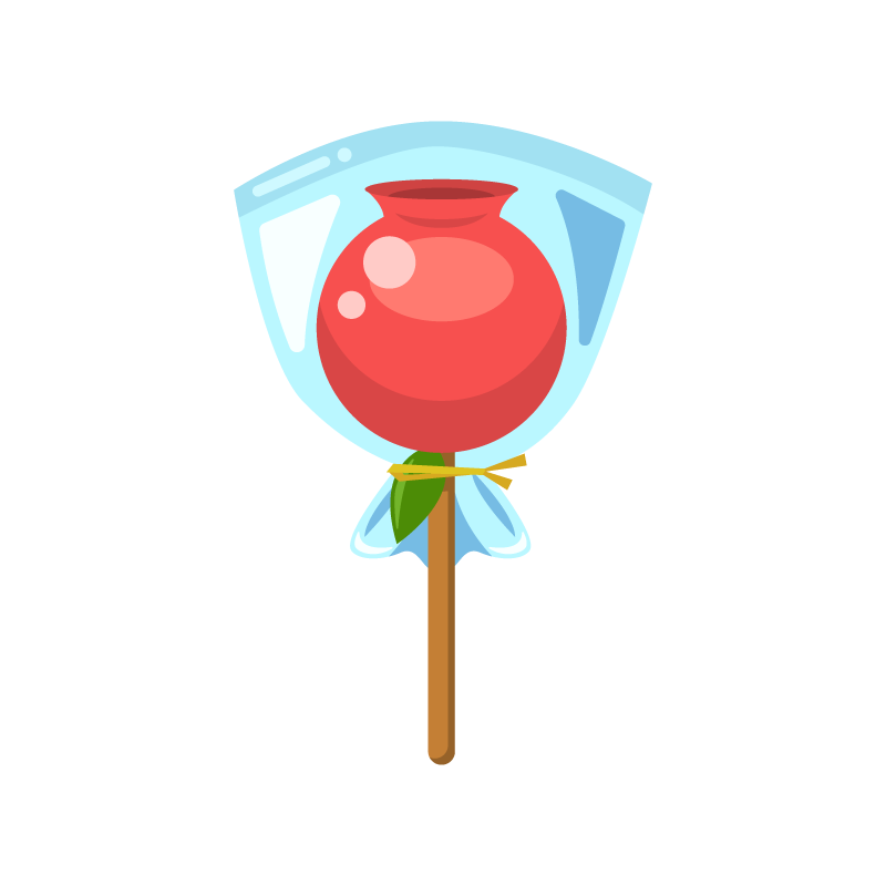 袋入りりんご飴林檎飴りんごあめのイラスト素材 商用可能な無料