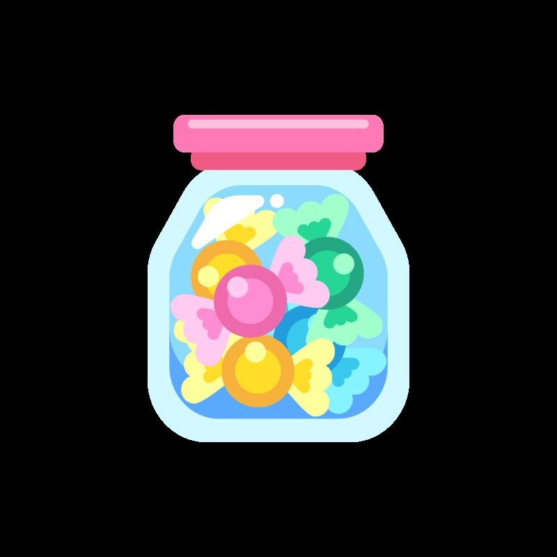 キャンディボトルガラス瓶入りの飴玉のイラスト素材 商用可能な