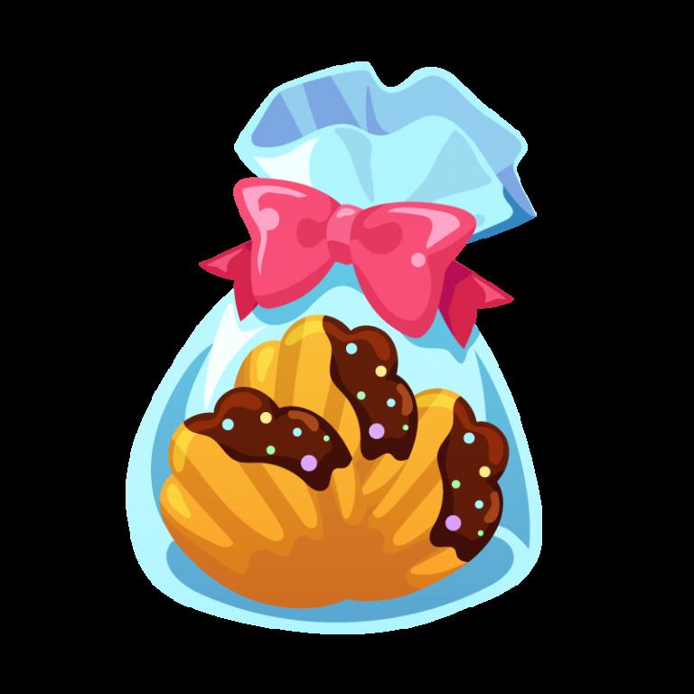 ラッピングされたチョコレートクッキーのイラスト素材