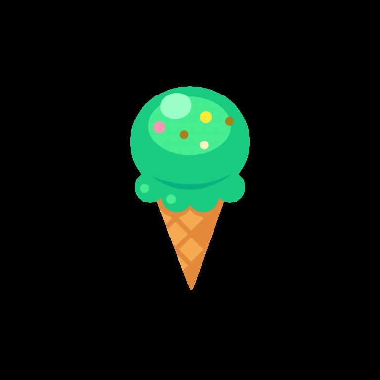 ワッフルコーンのチョコミントアイスクリーム(ジェラート)のイラスト素材