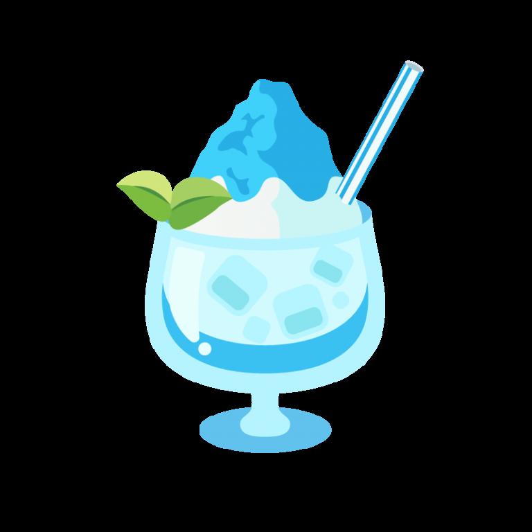 かき氷/フラッペ(ブルーハワイ味)のイラスト素材
