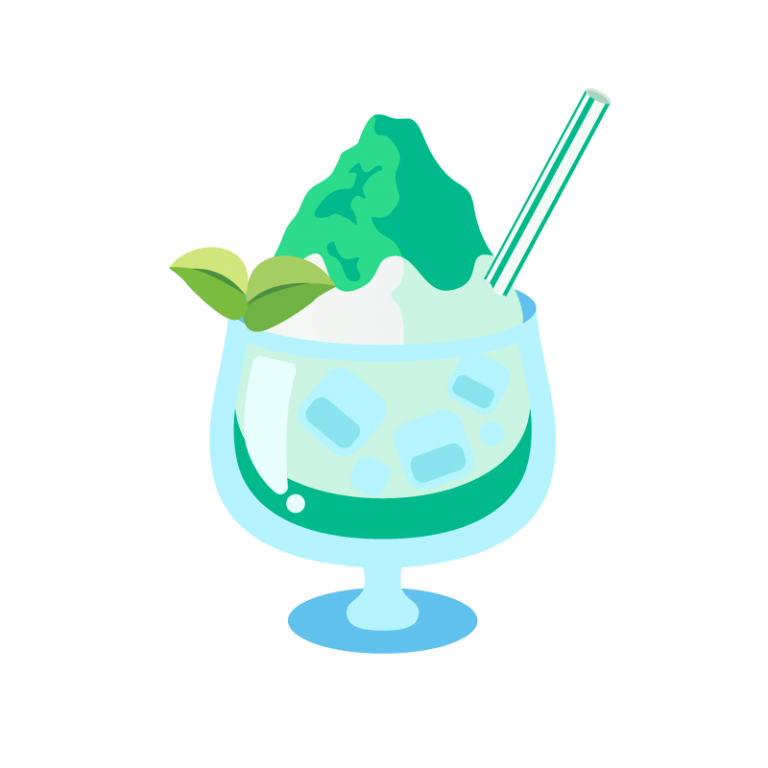 かき氷/フラッペ(メロン味)のイラスト素材