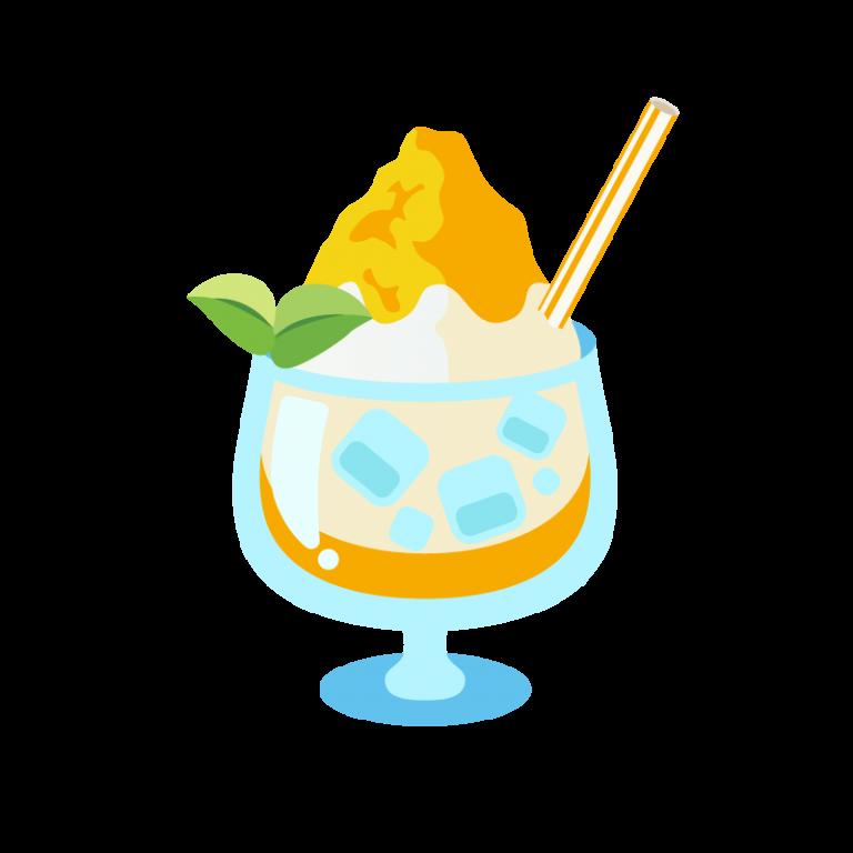 かき氷/フラッペ(レモン味)のイラスト素材