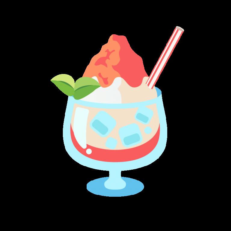 かき氷/フラッペ(イチゴ味)のイラスト素材