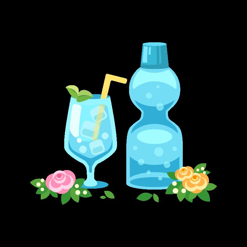 お祭りラムネ瓶ソーダサイダーのイラスト素材 商用可能な無料