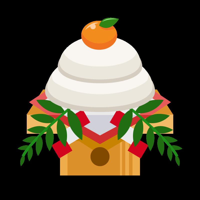 お正月にお供えする鏡餅かがみもちのイラスト素材 商用可能な無料