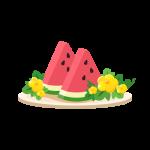 西瓜(スイカの花付き)のイラスト素材