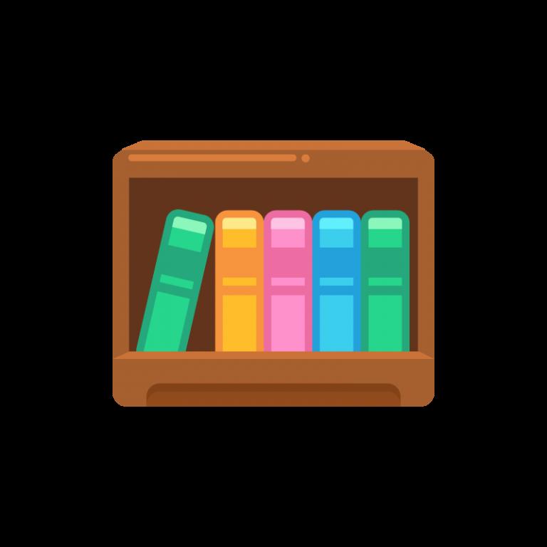本と本棚(ブックスタンド)のイラスト素材