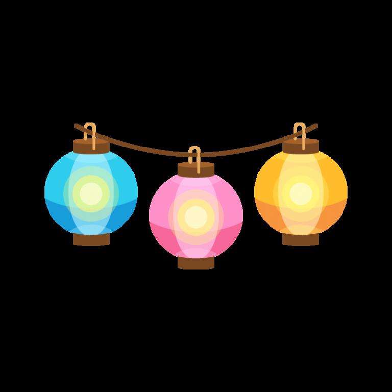 夏祭りの屋台に飾る提灯(ちょうちん)のイラスト素材