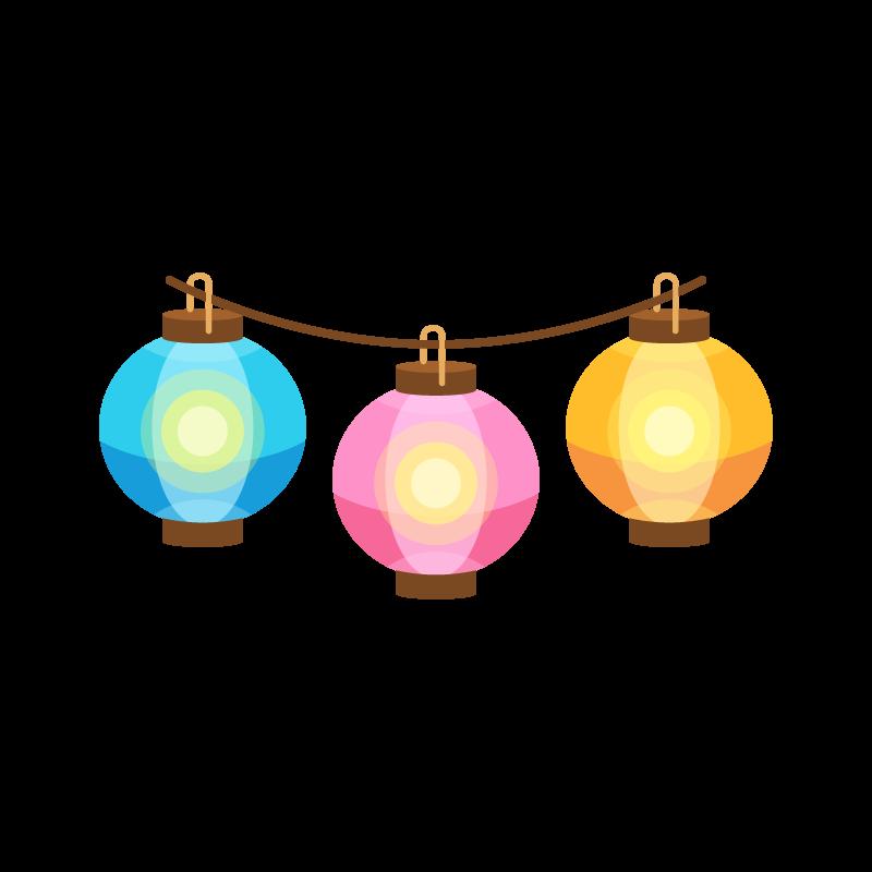 夏祭りの屋台に飾る提灯ちょうちんのイラスト素材 商用可能な無料
