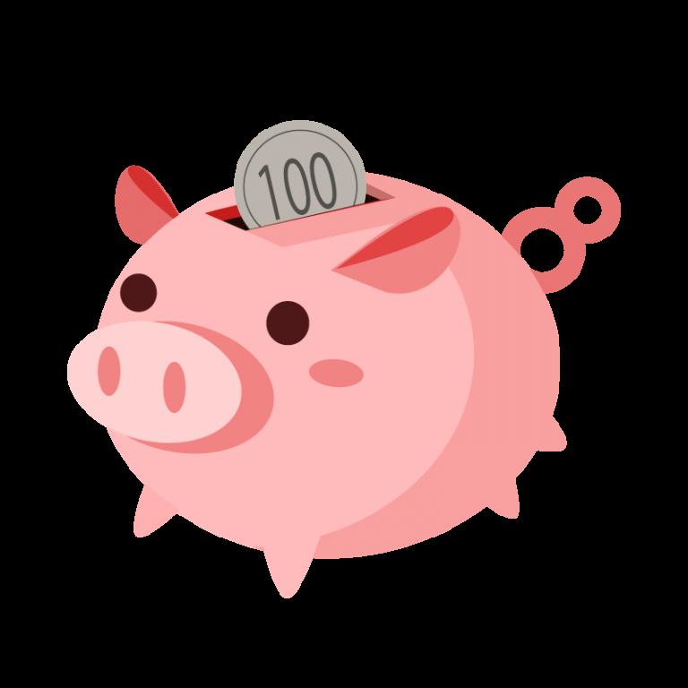 豚(ぶた)の貯金箱のイラスト素材