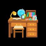 本や地球儀がのった勉強机と椅子(デスク/チェア)のイラスト素材