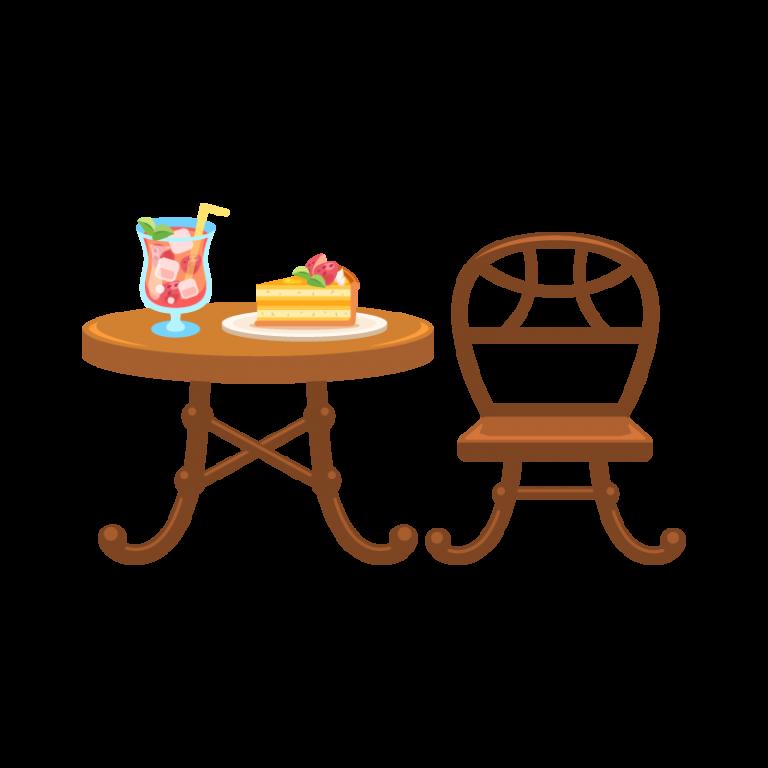 カフェテーブルとチェア(机と椅子)のイラスト素材(イチゴのケーキとジュース付き!)