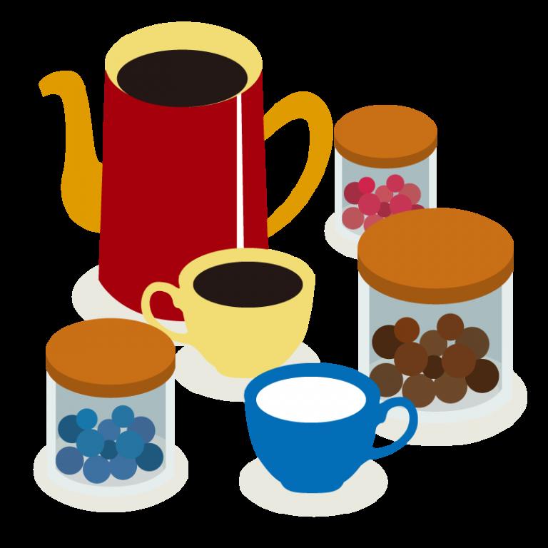 ティーセット(コーヒー&紅茶)のイラスト素材