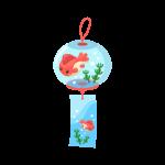 夏に涼しげな風鈴(ふうりん)のイラスト素材