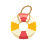 夏の海で使う浮き輪(うきわ)のイラスト素材