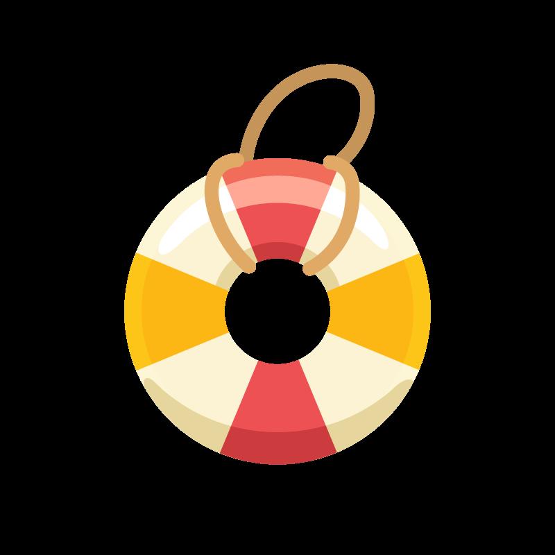 夏の海で使う浮き輪うきわのイラスト素材 商用可能な無料フリー
