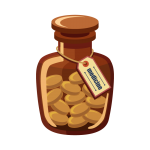 錠剤が入った薬瓶(かぜ薬)のイラスト素材